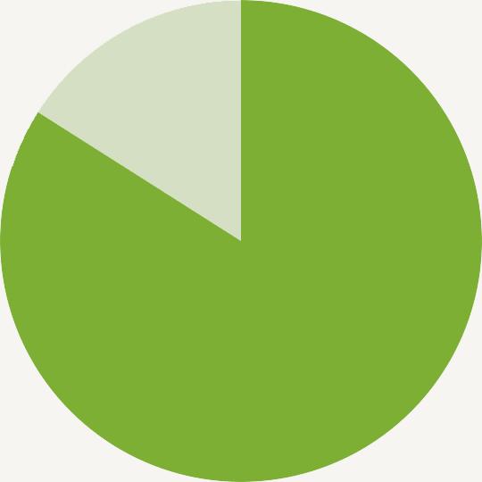84% pie chart