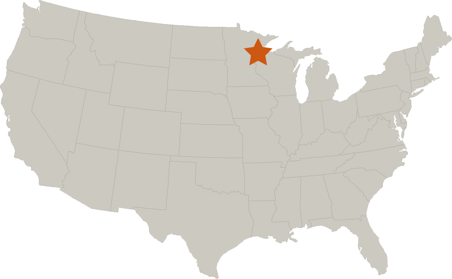 Map indicating location of Duluth, Minnesota