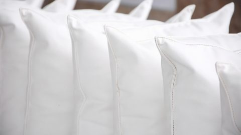 a row of pillows